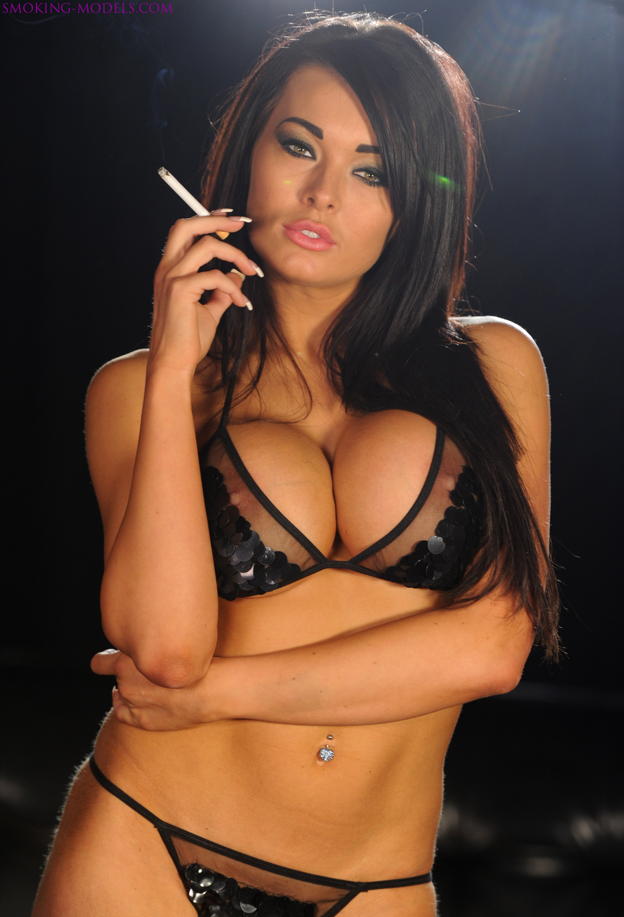 Charley atwell smoking strong marlboro reds in naughty lingerie